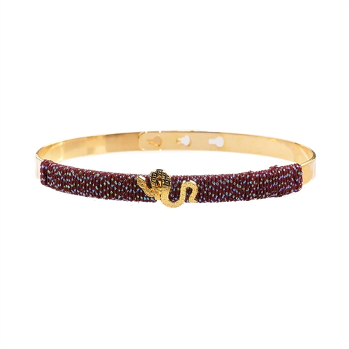 Mya Bay  - Snake, Burgundy iridescent thread gold